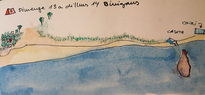 Dibujo de la playa de Binigaus, al sur de Menorca