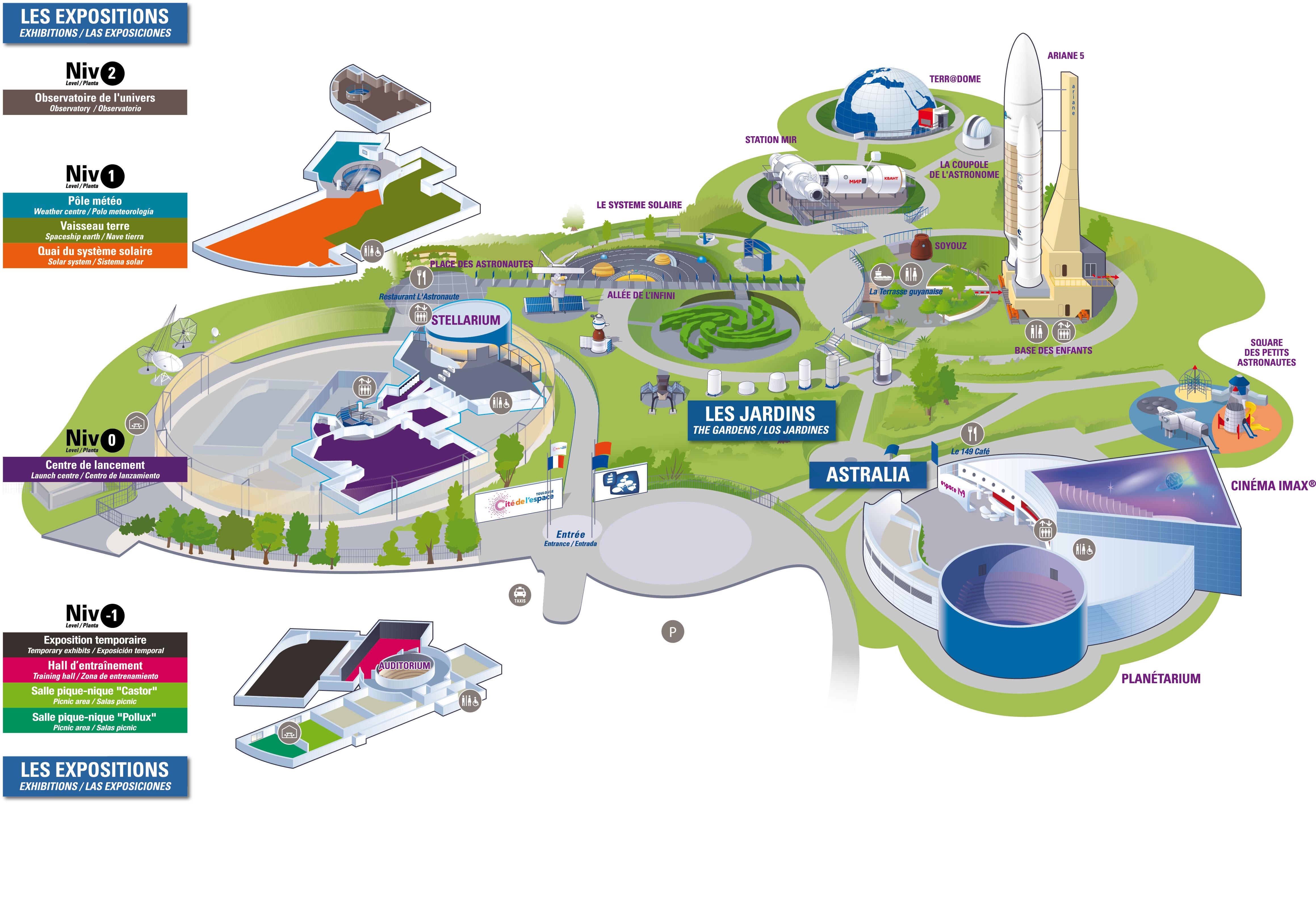 Mapa de la Cité de l'espace de Toulouse