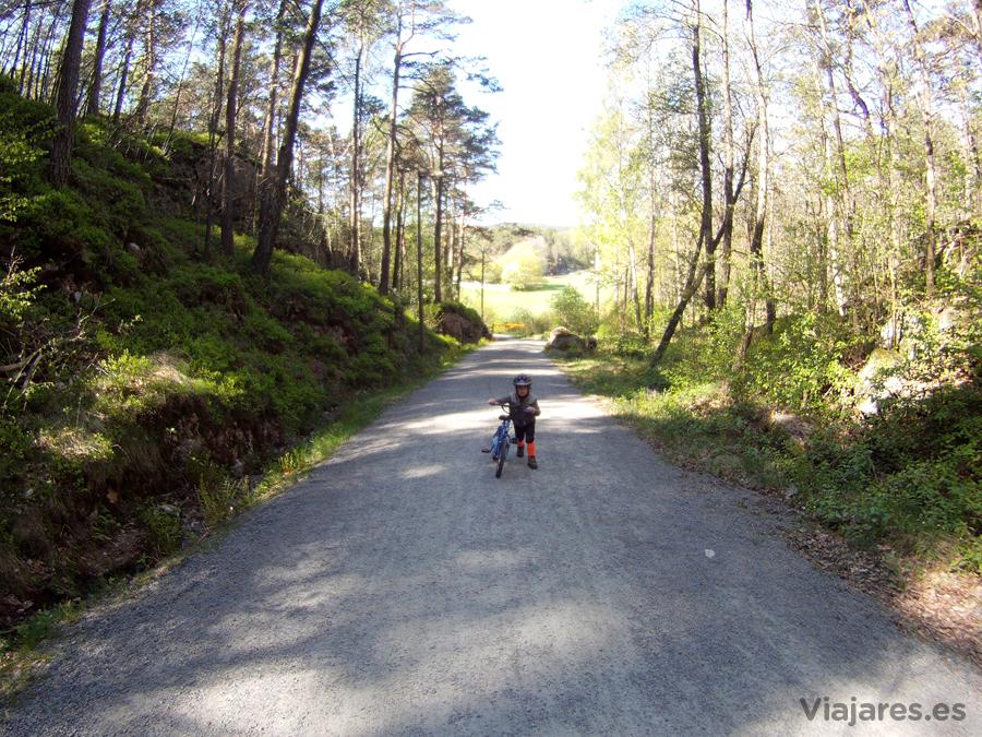 Pequeño ciclista por los caminos de Noruega