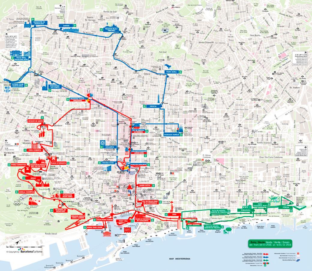 Mapa y paradas de las rutas del Bus Turístico
