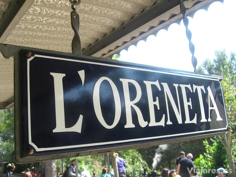 Cartel de la estación del tren. Parque de l'Oreneta