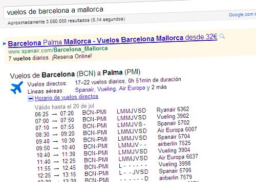 Query vuelos de Barcelona a Mallorca