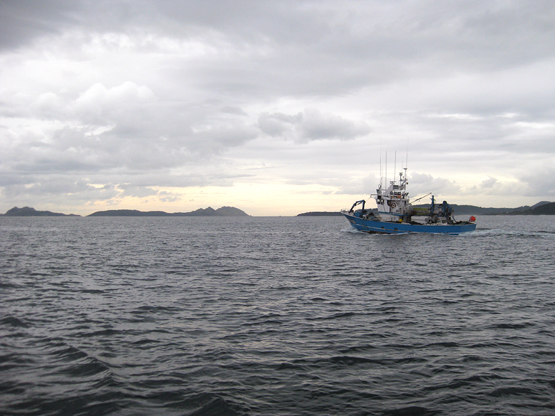 Barco de pesca saliendo a la mar en Vigo