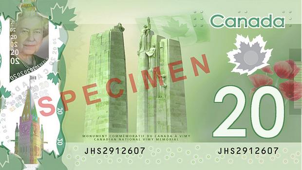Billete de 20 dólares de Canadá