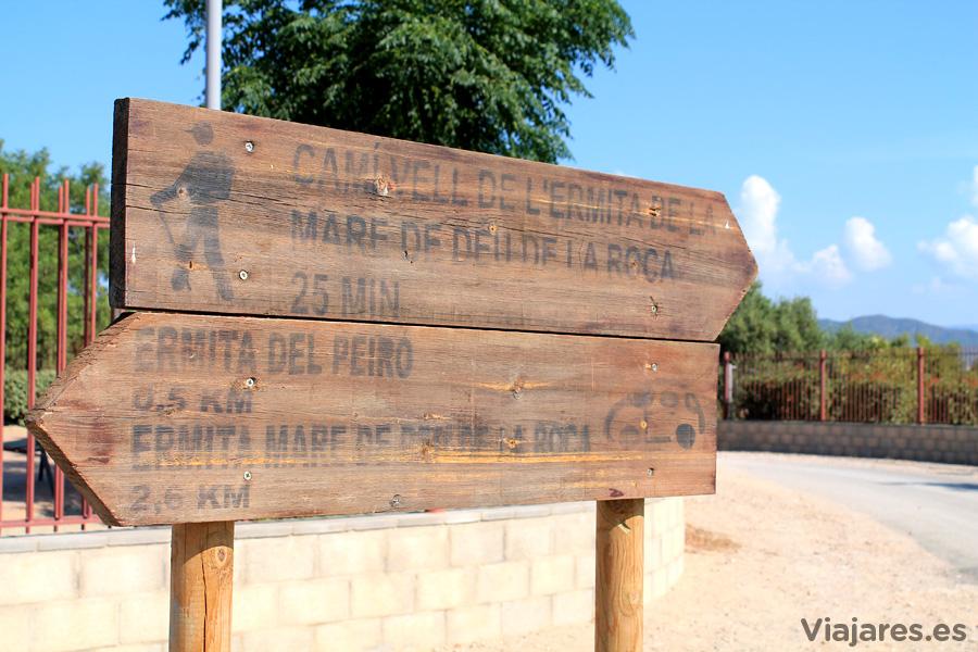 Indicaciones para llegar a la Ermita de la Mare de Déu de la Roca