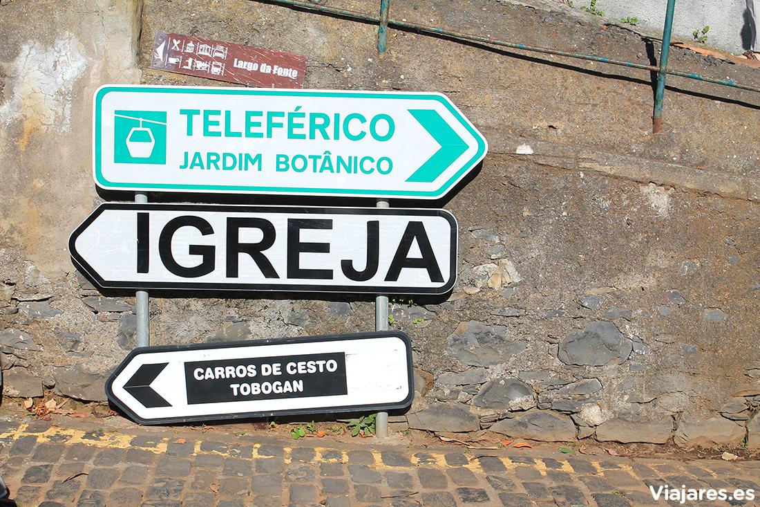 Indicaciones a la salida del Teleférico en Funchal