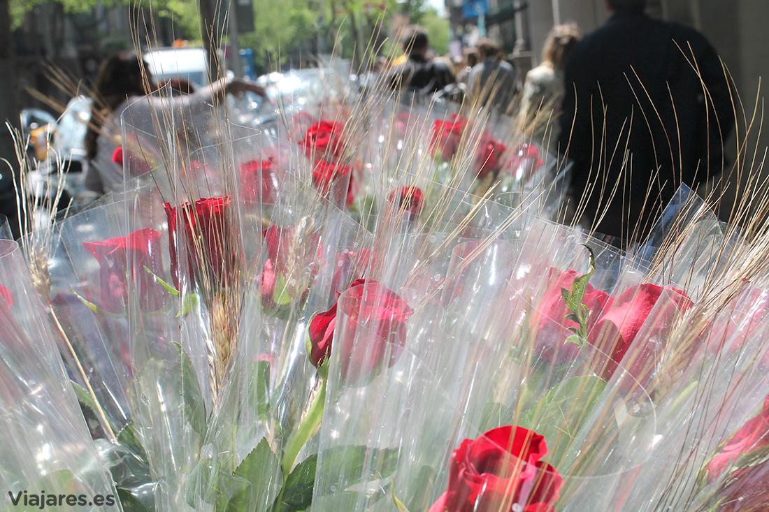 Venta de rosas en una calle de Barcelona