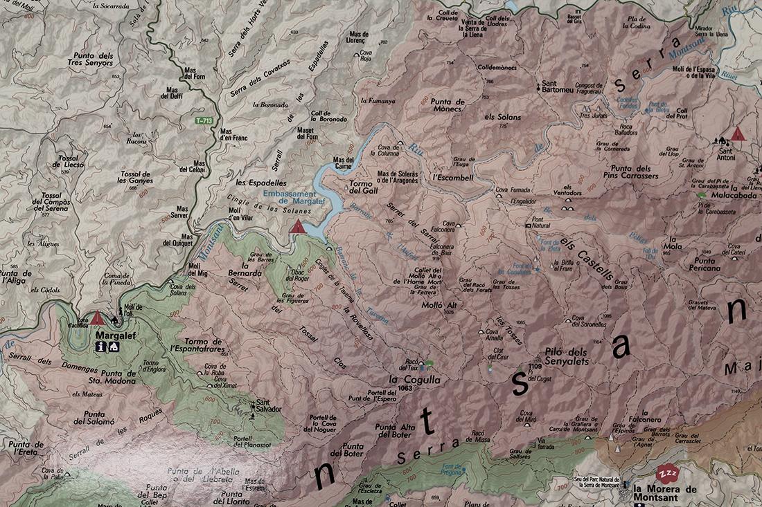 Mapa de situación en el Pantano de Margalef