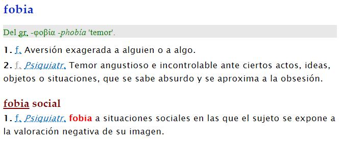 Definición de fobia en la RAE online