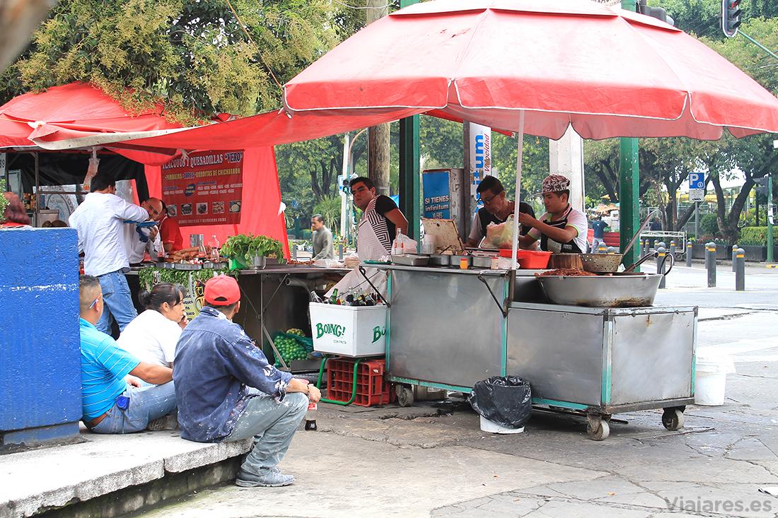 Uno de los abundantes puestos de comida en la calle en Ciudad de México