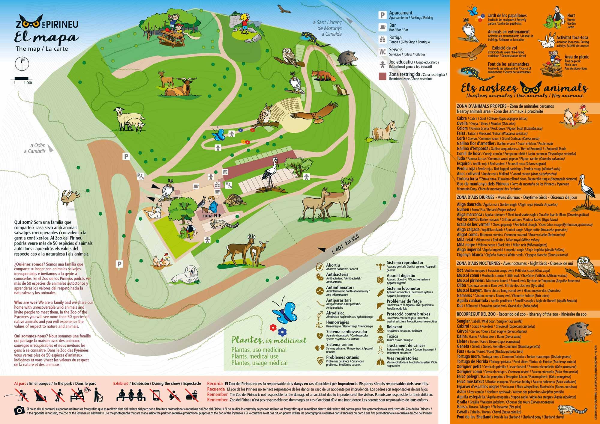 Mapa de las instalaciones de Zoo del Pirineu